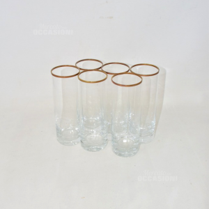 6 Glass Glasses Tall With Rim In Gold