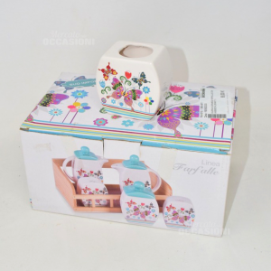 Ceramic Cruet Butterfly With Tray Wood