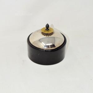 Porta Gioie Ceramica Nero Tondo Con Coperchio Acciaio