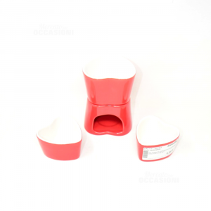 Set Fondue Ceramic Heart Red With 2 Bowls