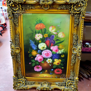 Painting Painted Vase With Composition Of Flowers 130*100 Cm Frame Golden Fine 800