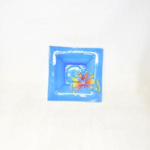 Saucer Glass Blue Butterfly Yellow Orange