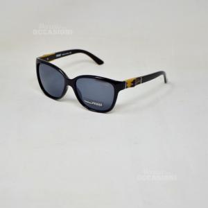 Sunglasses Ferrè Gf85104 Black Shiny Effect Wood Lens Black