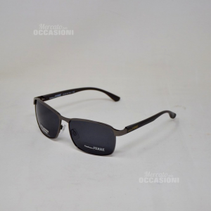 Occhiali Da Sole Ferrè GF78402 Stile Mafia Acciaio Lente Nera