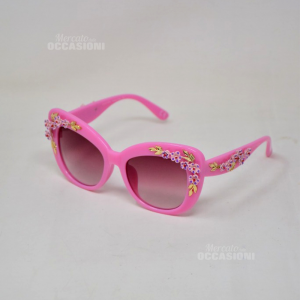 Occhiali Da Sole Coconuda Originali Colore Rosa Shocking Dettaglio Floreale 3D