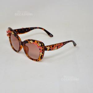 Sunglasses Coconuda Original Tortoiseshell Detail Floral Golden 3d