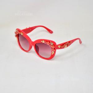 Sunglasses Coconuda Original Red Fire Detail Floral Golden 3d