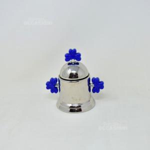 Zuccheriera Acciaio Inox Fiori Blu