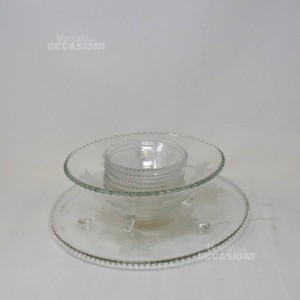 Service Complete In Glass 6 Bowls + Serving Bowl + Cake Base Silk-screened