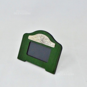 Photo Frame Green With Plaque Silver