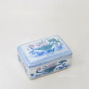 Ceramic Jewelry Box,draw Pond With Flowers,width 10 Cm