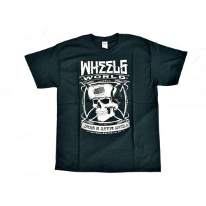 T-Shirt WHEELS WORLD SKULL for man - Blu e Bianca