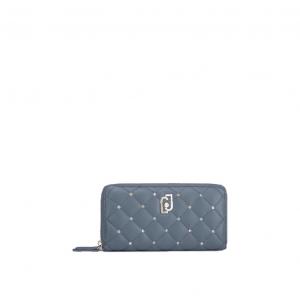 Portafoglio XL Zip Around trapuntato azzurro - LIU JO