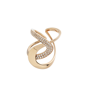 Anello D-Line h.28 in oro rosa e diamanti brown