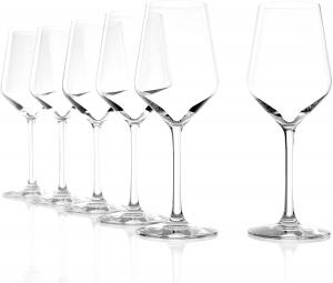 Set 6 calici in vetro cristallo per vino bianco Revolution, 365 ml cm.22h diam.8,2