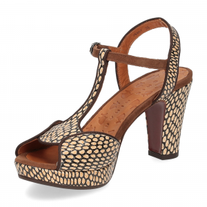 Chie Mihara sandalo Eduni36 pelle stampata beige-4