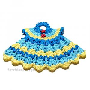 Presina abitino azzurro e giallo ad uncinetto 19,5x16,5 H cm Handmade - Italy