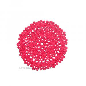 Sottobicchiere fucsia ad uncinetto 13 cm Handmade - Italy