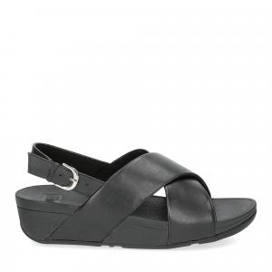 Fiflop Lulu Cross Back Strap Sandal black leather-2