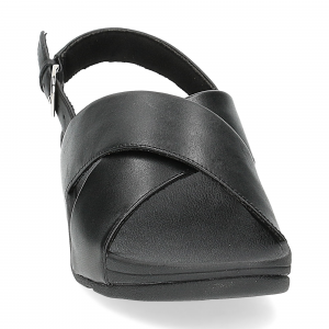 Fiflop Lulu Cross Back Strap Sandal black leather-3