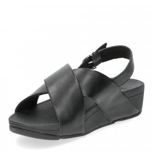 Fiflop Lulu Cross Back Strap Sandal black leather-4