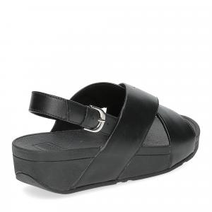 Fiflop Lulu Cross Back Strap Sandal black leather-5