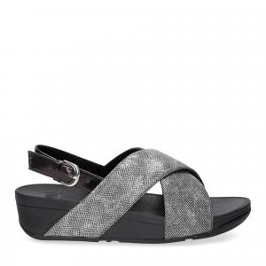 Fiflop Lulu Cross Back Strap Sandal shimmer print black-2