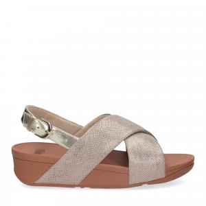 Fiflop Lulu Cross Back Strap Sandal shimmer print gold-1