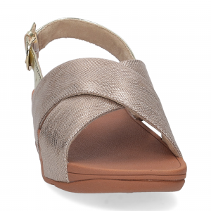 Fiflop Lulu Cross Back Strap Sandal shimmer print gold-2