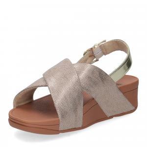 Fiflop Lulu Cross Back Strap Sandal shimmer print gold-3