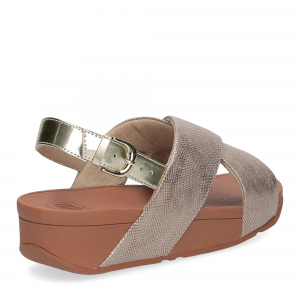 Fiflop Lulu Cross Back Strap Sandal shimmer print gold-4