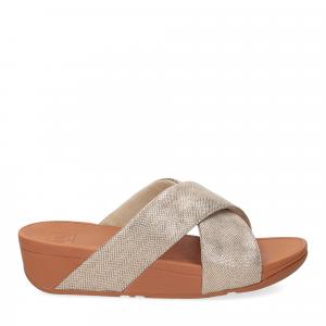 Fitflop Lulu Cross Slide Sandal shimmer print gold-2