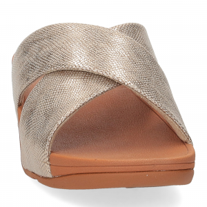 Fitflop Lulu Cross Slide Sandal shimmer print gold-3