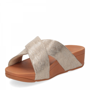 Fitflop Lulu Cross Slide Sandal shimmer print gold-4