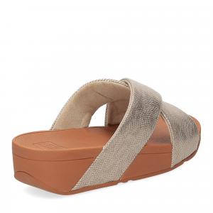 Fitflop Lulu Cross Slide Sandal shimmer print gold-5