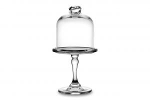 Alzata mini pasticceria in vetro con campana cm.21h diam.11,5