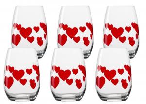 Set 6 pezzi bicchieri in vetro tumbler cuori rossi 335 ml cm.10h diam.7,5