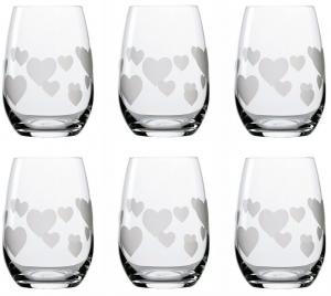 Set 6 pezzi bicchieri acqua tumbler in vetro cuore bianco satinato 335 ml cm.10h diam.7,5