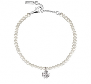 Mabina Bracciale Argento - Perle e Quadrifoglio