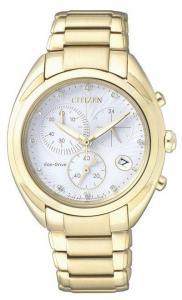 Citizen Crono Lady Diamond (Quadrante bianco, cassa dorata, acciaio I.P. oro giallo)