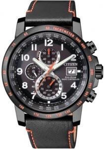 Citizen H800 Sport, Quadrante nero, cassa I.P. nero particolari arancioni, cinturino pelle nero