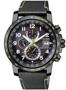Citizen H800 Sport, Quadrante nero, cassa I.P. nero particolari verdi, cinturino pelle nero