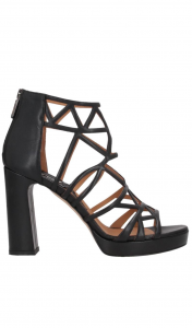 Sandalo con plateau neri in pelle - CHIARINI BOLOGNA