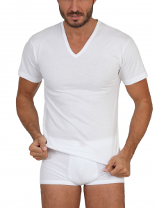 Maglia t-shirt uomo scollo a V manica corta cotone Ma.Re.