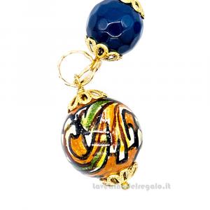 Orecchini con agata blu e sfere in ceramica di Caltagirone - Gioielli Siciliani