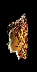 Medusa Gorgone Con i Serpenti in Oro Applique