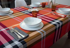 Bossi Casa Cucina Tovaglia 1365 Cotone Tinto in filo x12  - 170x270 cm
