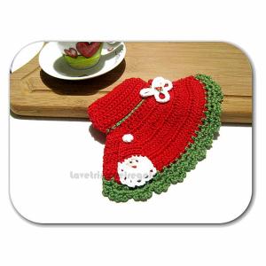 Presina cappello con Babbo Natale ad uncinetto 12,5x18 cm Handmade - Italy