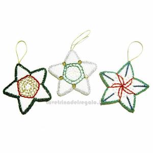 Set 6 stelle bianche da appendere ad uncinetto  9 cm Handmade - Italy