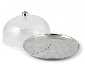 Piatto in acciaio con cupola in policarbonato cm.14h diam.27